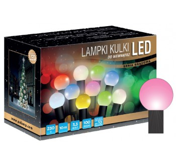 Vánoční LED osvětlení - LED osvětlení vnitřní - koule, růžová 10 m
