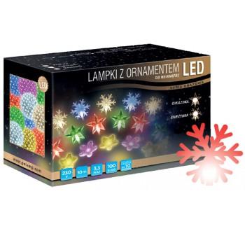 LED osvětlení vnitřní - vločka, červená, 10 m