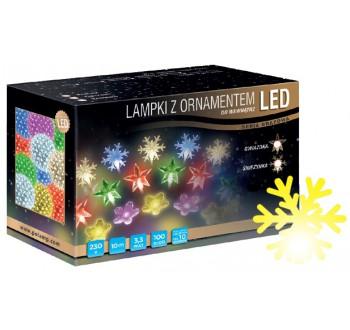 Vánoční LED osvětlení - LED osvětlení vnitřní - vločka, žlutá, 10 m
