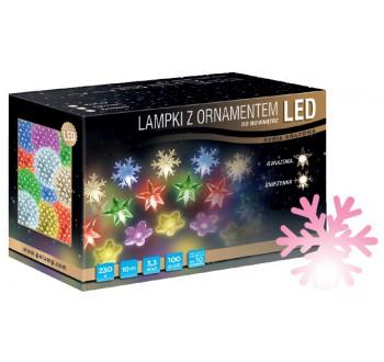 Vánoční LED osvětlení - LED osvětlení vnitřní - vločka, růžová, 10 m