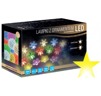 LED osvětlení vnitřní - hvězda, žlutá, 10 m