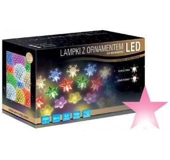 Vánoční LED osvětlení - LED osvětlení vnitřní - hvězda, růžová, 10 m