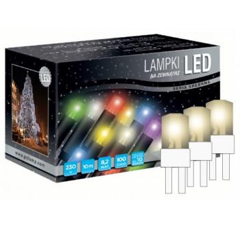 Vánoční LED osvětlení - LED osvětlení univerzální - klasická, tep. bílá, 10 m, bílý kabel