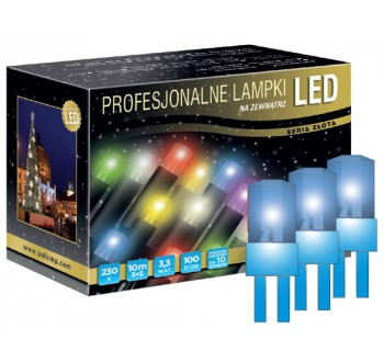 Vánoční LED osvětlení - LED osvětlení venkovní - klasická, modrá, 10 m, modrý kabel
