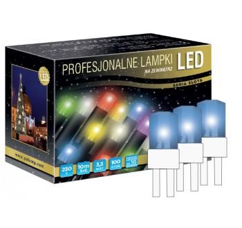 LED osvětlení venkovní - klasická, modrá, 10 m, bílý kabel