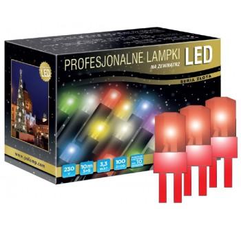 Vánoční LED osvětlení - LED osvětlení venkovní - klasická, červená, 10 m, červený kabel