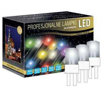 Vánoční LED osvětlení - LED osvětlení venkovní - klasická, st. bílá, 10 m, bílý kabel