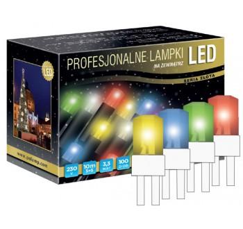 LED osvětlení venkovní - klasická, multicolor, 10 m, bílý kabel