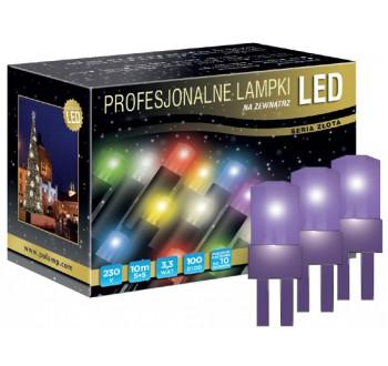 LED osvětlení venkovní - klasická, fialová, 10 m, fialový kabel