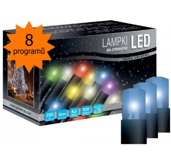 Vánoční LED osvětlení - LED osvětlení univerzální - klasická, modrá 10 m, programátor
