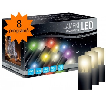 Vánoční LED osvětlení - LED osvětlení univerzální - klasická, tep. bílá 10 m, programátor