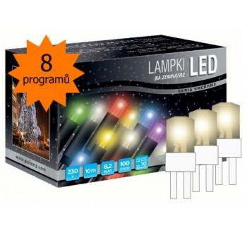 Vánoční LED osvětlení - LED osvětlení univerzální - klasická, tep. bílá 10 m, bílý kabel, programátor