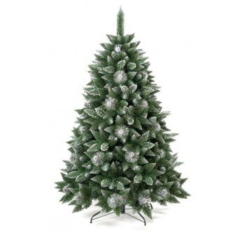 Borovice - zdobená - Umělá vánoční borovice s šiškami - stříbrná 120 cm