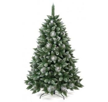 Borovice - zdobená - Umělá vánoční borovice s šiškami - stříbrná 220 cm