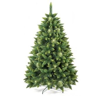 Borovice - zdobená - Umělá vánoční borovice s šiškami - zelená 220 cm