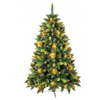 Borovice - zdobená - Umělá vánoční borovice s šiškami - zlatá 150 cm