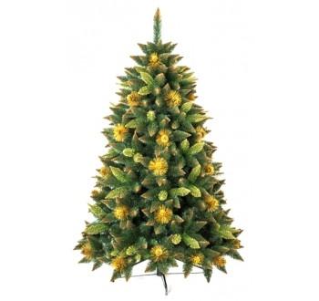 Borovice - zdobená - Umělá vánoční borovice s šiškami - zlatá 220 cm