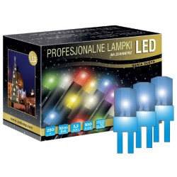 LED osvětlení venkovní - klasická, modrá, 10 m, modrý kabel