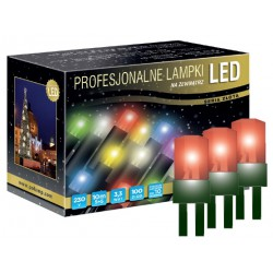 LED osvětlení venkovní - klasická, červená, 10 m