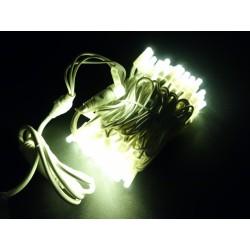 LED osvětlení venkovní - klasická, tep. bílá, 10 m, bílý kabel