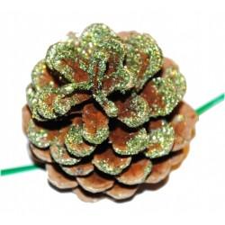 Vánoční dekorace - Borovicová šiška zelená