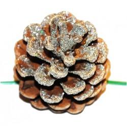 Vánoční dekorace - Borovicová šiška stříbrná