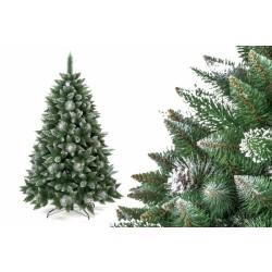 Umělá vánoční borovice s šiškami - stříbrná 220 cm