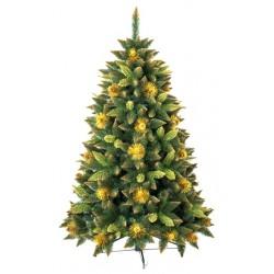 Umělá vánoční borovice s šiškami - zlatá 220 cm